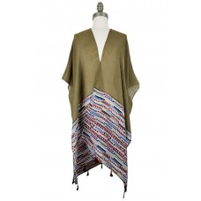 Abstract Boho Kimono with Tassels - Taupe