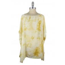 Crumple Tie-Dye Chiffon Poncho - Yellow