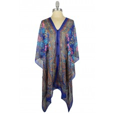 Floral and Paisley Chiffon Poncho with Button Accents - Blue