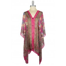 Floral and Paisley Chiffon Poncho with Button Accents - Red