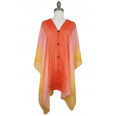 Ombre Chiffon Poncho with Button Accents - Multi Coral