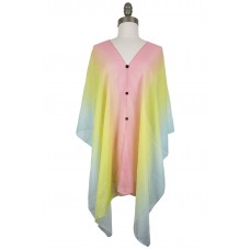 Ombre Chiffon Poncho with Button Accents - Multi Pastel