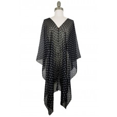 Polka Dot Chiffon Poncho with Button Accents - Black
