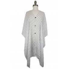 Polka Dot Chiffon Poncho with Button Accents - White