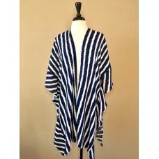 Blue and White Striped Kimono w Ruffled Sides