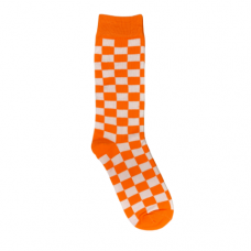 Orange And White Checkered Socks
