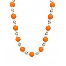 Orange And White Elastic Bead Necklace
