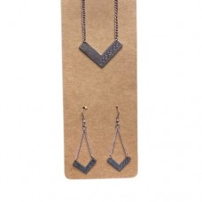 Georgia  Chevron Necklace and Earrings - Silver