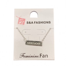 Kentucky Stamped Silver Bar Necklace