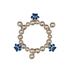 Silver 10 MM Bead and Blue Paw Stretch Bracelet