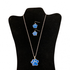 Blue Paw Necklace Set - Silver