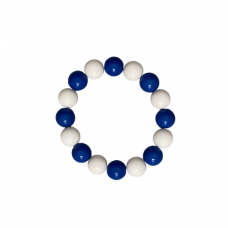 Blue and White 8mm  Bead Stretch Bracelet