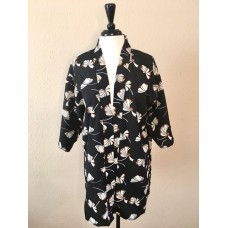 Black Kimono w Cream & Tan Ginkgo Leaf Print
