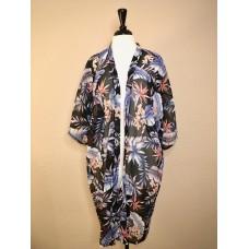 Black Chiffon Kimono w Coral Orchids and Blue Palm Leaves