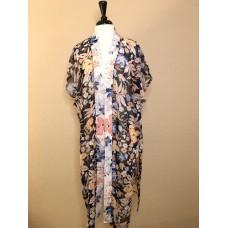 Navy Chiffon Kimono w orange and Blue Flowers