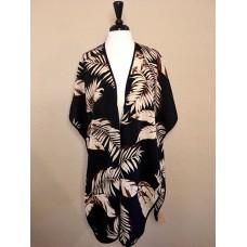 Black kimono w Beige and Tan Palm Leaves