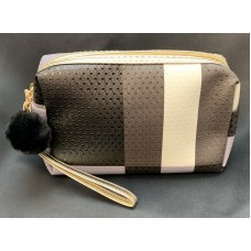 Black, Gray And White Plaid Print Cosmetic Bag With Faux Fur Pompom