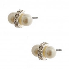 White Simulated Double Pearl With Stone Accent Silver Plated Post Earrings