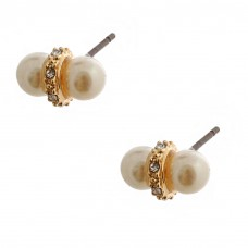 White Simulated Double Pearl With Stone Accent Gold Plated Post Earrings