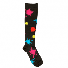 Women's Multi Color Splatter Paint Print Compression Sock