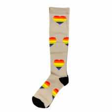 Women's Gray Rainbow Heart Compression Sock