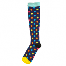 Women's Navy With Polka Dot Print Compression Sock