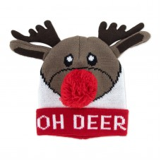 Children's Holiday Knitted Hat - Oh Deer