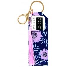 Lipstick/Lip Balm Holder Keychain - Blue Flowers