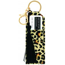 Lipstick/Lip Balm Holder Keychain - Cheetah