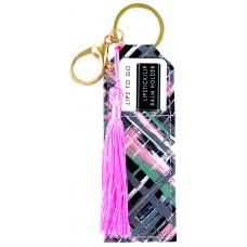 Lipstick/Lip Balm Holder Keychain - Plaid