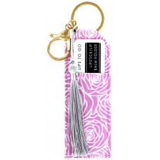 Lipstick/Lip Balm Holder Keychain - White and Pink Flowers