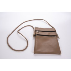 Brown Tiny Grain Leatherette 3 Zipper Crossbody Bag