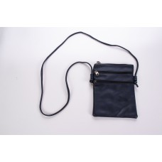 Black Spanish Cowhide Leatherette 3 Zipper Crossbody Bag