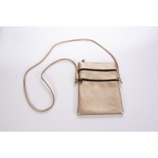 Gold Spanish Cowhide Leatherette 3 Zipper Crossbody Bag