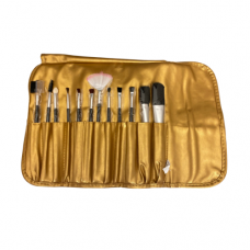 12 Piece Cosmetic Brush Set - Gold