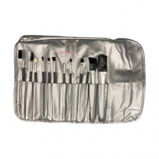 12 Piece Cosmetic Brush Set - Silver