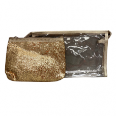 2 Piece Cosmetic Bag Set - Gold Glitter