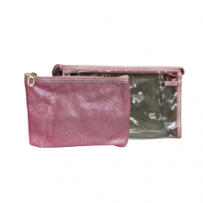 2 Piece Cosmetic Bag Set - Pink Sparkle