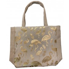 Beige Canvas Tote Bag With Metallic Gold Flamingo Print