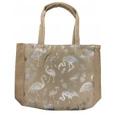 Beige Canvas Tote Bag With Metallic Silver Flamingo Print