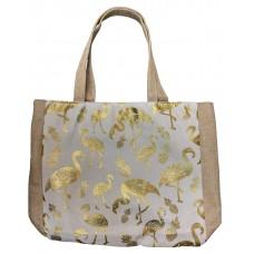White Canvas Tote Bag With Metallic Gold Flamingo Print