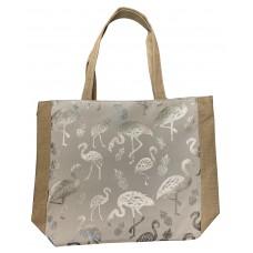 White Canvas Tote Bag With Metallic Silver Flamingo Print