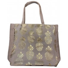 Beige Canvas Tote Bag With Metallic Gold Pineapple Print