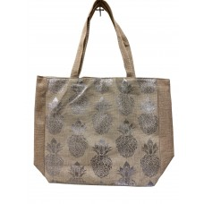Beige Canvas Tote Bag With Metallic Silver Pineapple Print