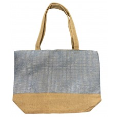Beige Canvas Tote With Blue Shimmer