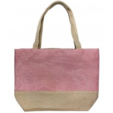 Beige Canvas Tote With Pink Shimmer