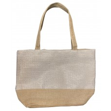 Beige Canvas Tote With White Shimmer