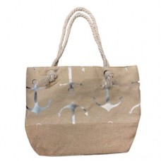 Beige Canvas Tote Bag With Metallic Silver Anchor Print