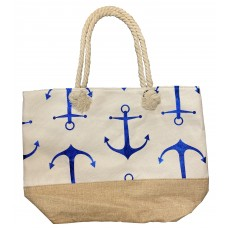White Canvas Tote Bag With Metallic Blue Anchor Print