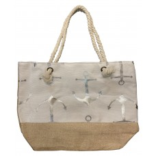 White Canvas Tote Bag With Metallic Silver Anchor Print